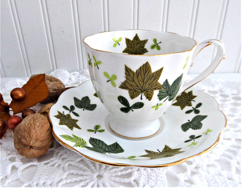 Leaves Cup And Saucer Maples Alder Royal Standard 1950s Bone China