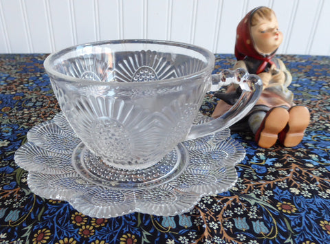 Hobnail Clear Cup And Saucer Indiana Glass 1950s Depression Glass Retro