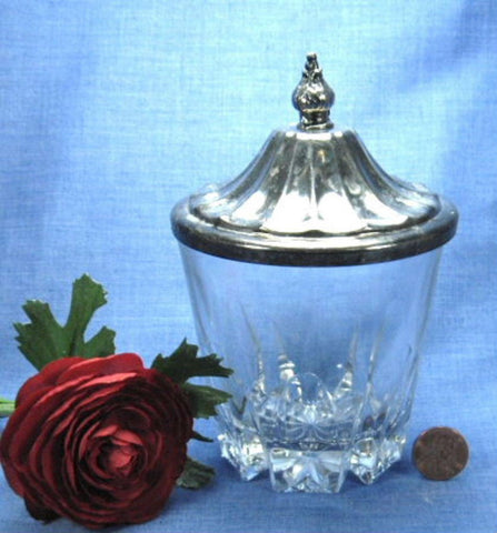 Vintage Cut Glass Jam Marmalade Royal Silver Plate Lid 1940s USA