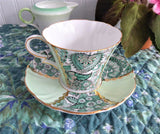 Cup And Saucer Green Paisley Chintz Panels 1950s Vintage Royal Standard Gold Overlay