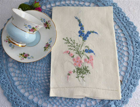 Floral Spray Hand Embroidered Linen Guest Towel Hand Towel 1950s Tea Towel Hand