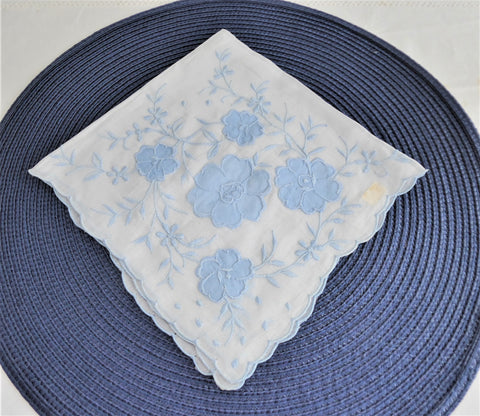 Blue And White Floral Applique Handkerchief Hand Embroidered 1950s Original Sticker Hanky