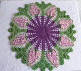 Large Grapes Crocheted Doily Vintage English Thread Crochet 3D Hand Made 1950s