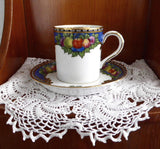 Jewel Color Fruit Demitasse Cup And Saucer 1930s Somerset Hughes Demi Coffee Espresso