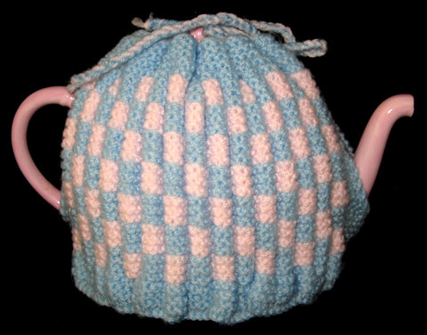 Tea Cozy Vintage English Hand Knitted Pink Blue Stretchy 1950s Tea Cosy