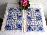 Pair Of Linen Placemats Delft Tile Pattern 1950s Table Mats Delft Blue White Table Linens