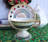 Luster Cup And Saucer Norcrest 1950s Heart Cutouts Gold Overlay Brush Gold