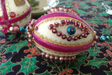 Pair Beaded Christmas Tree Ornaments Magenta Handmade 1950s German Mercury Glass Dresden
