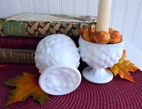 Milk Glass Candle Holders Floral Pedestal Posy Holders 1950s Pair Vintage