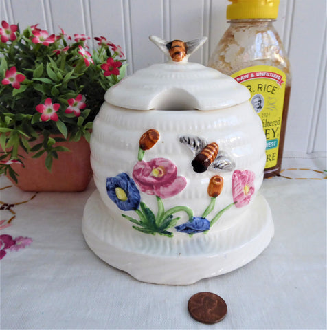 Vintage Honey Jar 1950s Molded Ceramic Bee Skep Japan Bee Finial Flowers