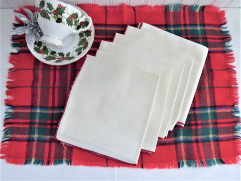 Tea Napkins 6 Off White Red Trim Napkins Luncheon 1950s 14 Inch Holiday