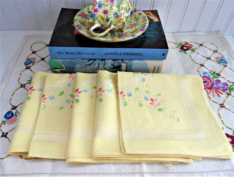 Sunny Yellow Damask Napkins 5 Hand Colored 1950s Cotton Rayon Elegant Luncheon Tea