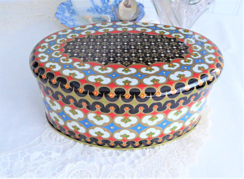 Tea Tin Oval Tile Pattern Mid Century Tea Caddy Meister 1950s Tin Canister Storage