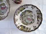 Pair Johnson Brothers Friendly Village Cereal Bowls Coupe Old Mill English 1950s Transferware