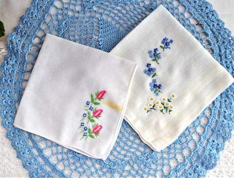 Pair Vintage Handkerchief Hand Embroidered Forget Me Nots Daisies Rolled Hems Hanky
