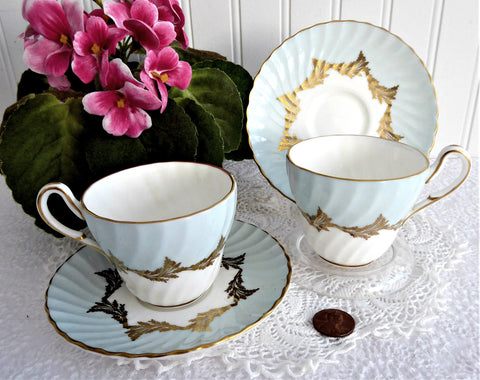 Aqua Gold Pair 1950s Cups And Saucers Demitasse Foley Brain Bone China