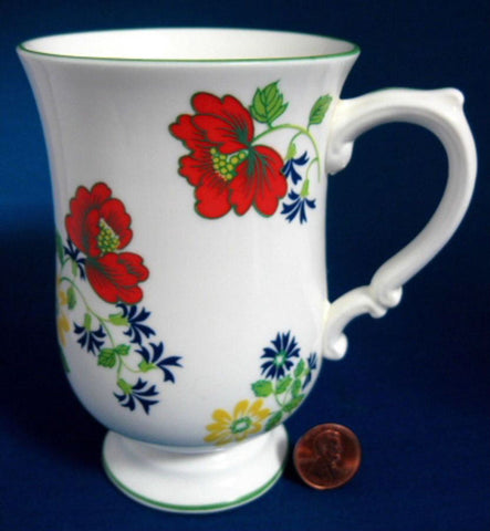 Mug English Garden Bone China Red Blue Green Crown Staffordshire Grandmug 1950s