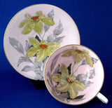 Windsor Lilies Cup And Saucer Pink Gold Orange Enamel Accents 1950s Bone China