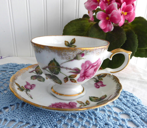 Pink Rose Cup And Saucer 1950s Japan Brushed Gold Trim Teacup Porcelain