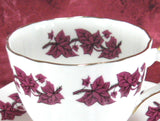 Teacup Trio Purple Ivy Grape Leaves English Bone China Clare Vintage 1950s