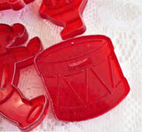 HRM Cookie Cutters 7 Red Plastic 1950s Santa Bell Star Teddy Bear Drum Christmas Tree
