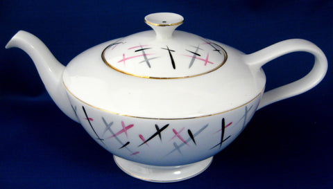 Retro Teapot Royal Standard England Pink Black 1950s Large Bone China