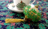 Beaded Christmas Ornament Retro Handmade Green Gold Dangling Tassel 1950-1960s