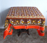 Retro Colors Tablecloth 60 Square Bark Cloth Tea Cloth Bridge Cloth Fall Colors