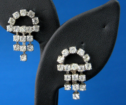 Rhinestone Earrings Dangles Screw Back 1950s Vintage Tea Party Glamour