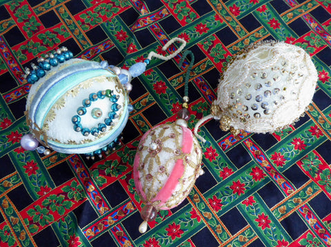 Set 1950s Beaded Christmas Tree Ornaments 3 Pink Aqua Gold Bullion Lace 1950s Mercury Glass Beads