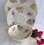 Bavarian Teacup Trio Gold Pink Heart Stylized Leaves Martini Shape Cup 1950s