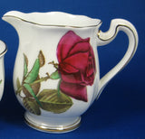 Cream And Sugar English Rose Royal Standard Hand Colored 1950s Creamer