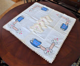 Teacup Appliqued Embroidered Tablecloth Pockets 4 Napkins 1950s Card Table 26X28