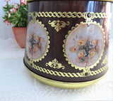 Tea Tin Round Barrel Floral Vignettes Tea Caddy Meister 1950s Biscuit Tin