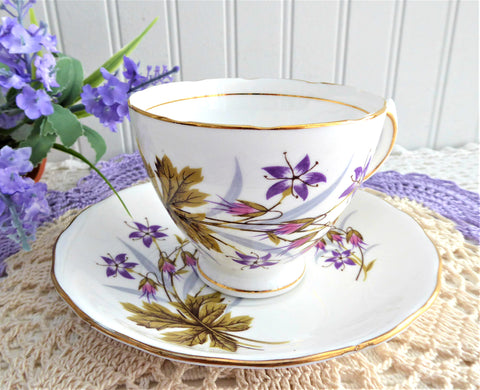 Cup and Saucer Purple Wild Flowers Pink Seeds Colclough 1950s English Teacup