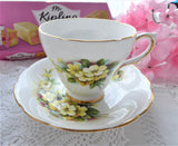 Yellow Primroses Cup And Saucer 1950s Royal Kendall Floral Bone China