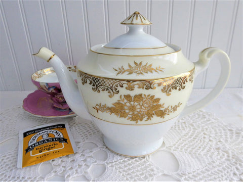 Teapot Vintage Noritake Cream Bands Heavy Gold Encrusted Floral 3 Cup 1940s