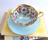 Beautiful Paragon Cup And Saucer Luxe Gold Aqua Poppies Queen Elizabeth Warrant 1950s