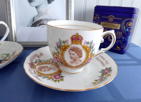 Tuscan Queen Elizabeth II Coronation Cup And Saucer 1953 English Bone China