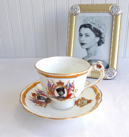 Cup and Saucer Queen Elizabeth II Coronation Crown Handle Radfords 1953