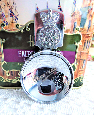 Queen Elizabeth II 1953 Coronation Tea Caddy Spoon Tea Scoop Chrome Cipher Crown