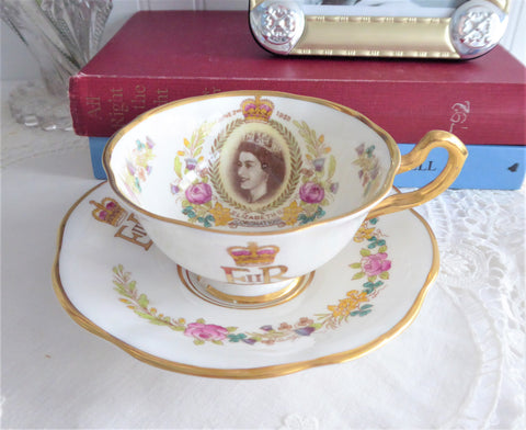 Rosina Queen Elizabeth II Coronation Cup And Saucer UK Flowers 1953 English Bone China