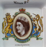 Queen Elizabeth II Coronation Butter Pat Victoria BC Stelcks 1953 Teabag Holder