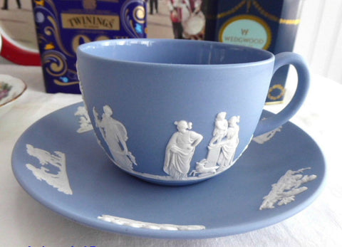 Cup and Saucer Wedgwood Blue Jasperware Sacrifice With Lamb England 1959