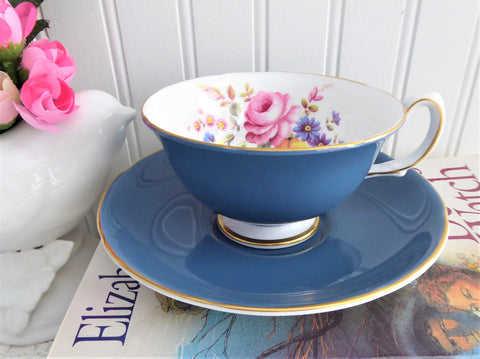 Royal Grafton Blue Floral Center Cup And Saucer 1957-62 English Bone China