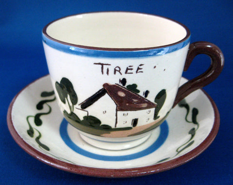 Cup and Saucer Mottoware A Rolling Stone Tiree Watcombe Torquay 1940s