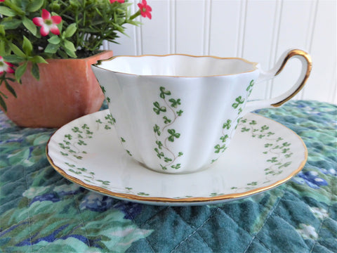 Cup And Saucer Irish Royal Tara Ireland Trellis Shamrock 1960s Tea Cup