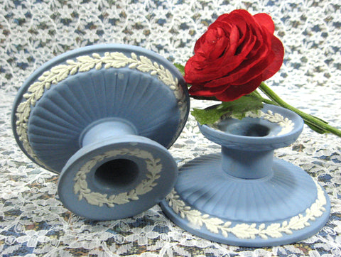 Pair of Candle Holders Wedgwood Blue Jasperware 1959 Dining Tea Party