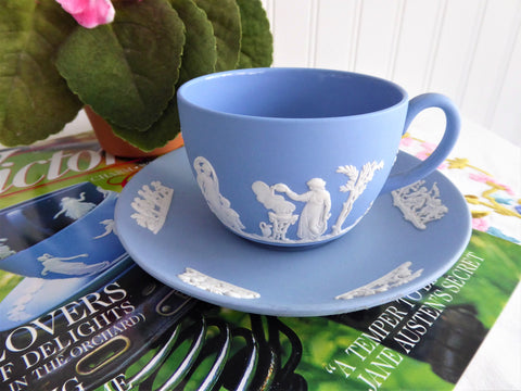 Wedgwood Blue Jasperware Cup And Saucer Sacrifice Cherubs Putti 1959