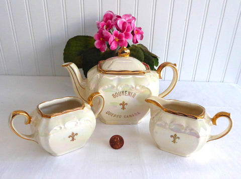Sadler Cube Teaset Luster Souvenir Quebec Canada Teapot Cream Sugar 1950s Tea Party